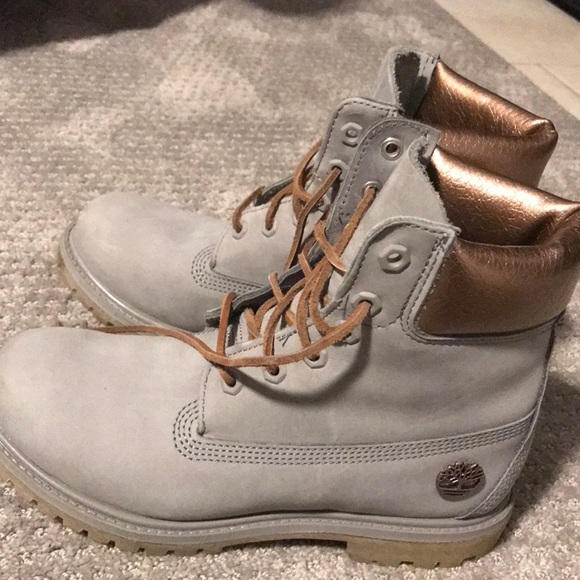 Rose gold and gray Timberlands. M 5a5d470ba44dbe7016637116 8568b80f122f
